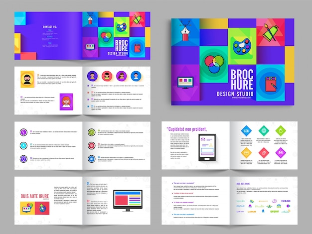 Multipagina opuscoli, volantini pack design con in colore viola per art studio