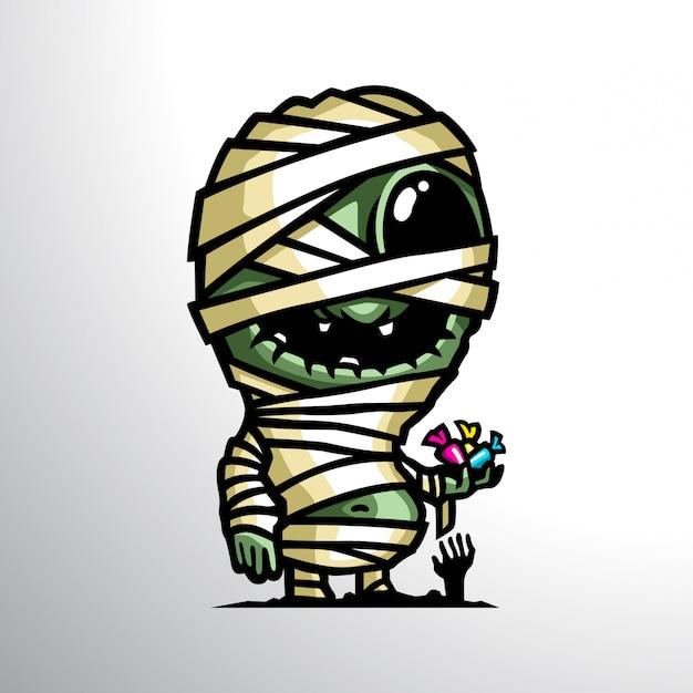 Mummia nell'illustrazione della mascotte di halloween