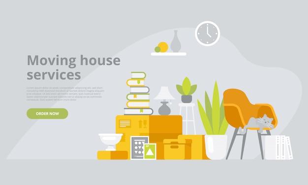 Muoversi con scatole con varie cose nella nuova casa