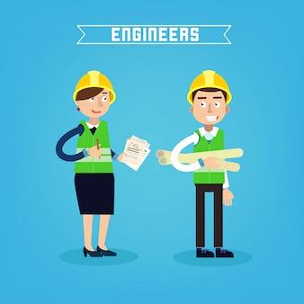Muratori. ingegnere e project manager. ingegneria delle costruzioni. illustrazione vettoriale