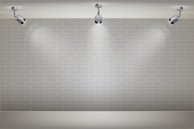 Muro di mattoni bianco con sfondo di luci spot