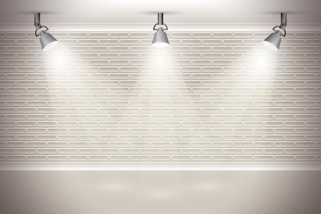 Muro di mattoni con sfondo di luci spot