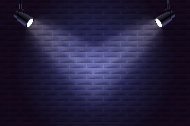 Muro di mattoni con stile di sfondo luci spot