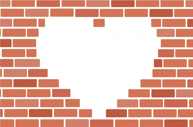 Muro di mattoni e lo spazio del cuore