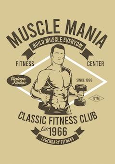 Muscle mania design illustrazione