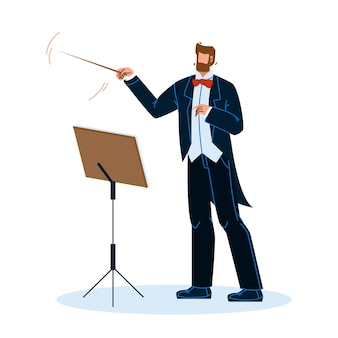 Music conductor man conducting orchestra