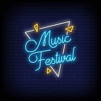 Music festival al neon in stile testo