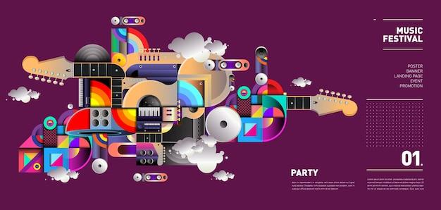 Music festival illustration design per party ed event