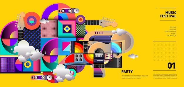 Music festival illustration design per party ed event