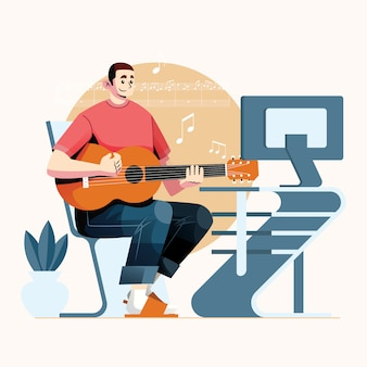 Music guitarist productive form home