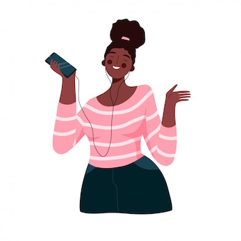 Musica d'ascolto e ballare della bella donna africana, ragazza che gode della musica con le cuffie e fumetto piano di vettore dello smartphone