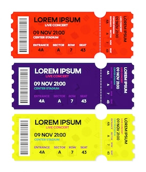 Musica da concerto dal vivo o danza, modelli di biglietti.