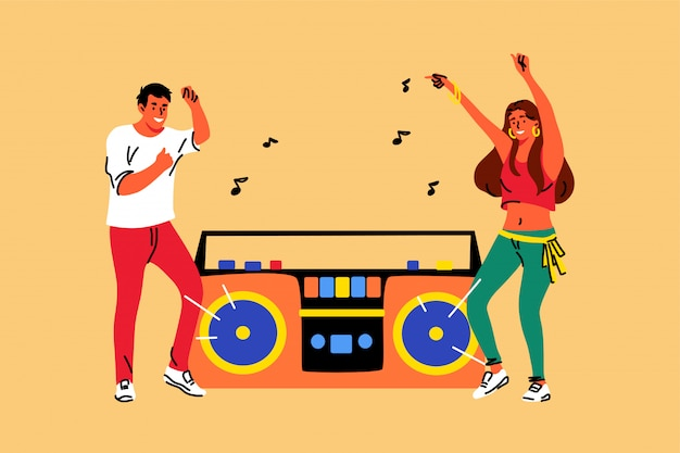 Musica, danza, stile di vita, ricreazione, amicizia, concetto di festa
