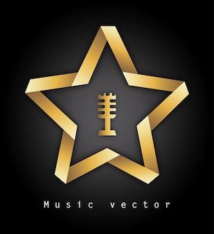 Musica design su sfondo nero illustrazione vettoriale