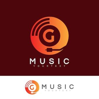 Musica iniziale lettera g logo design
