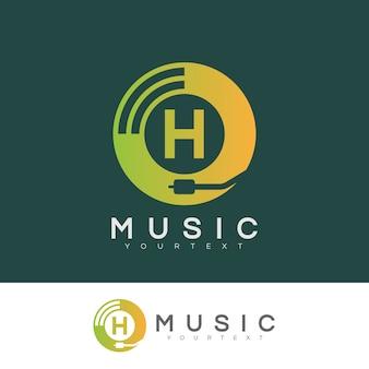 Musica iniziale lettera h logo design