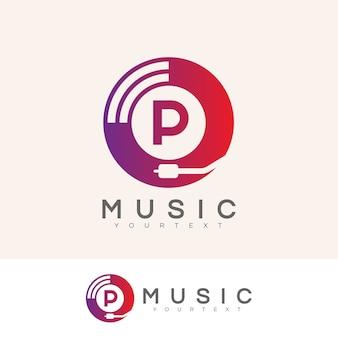 Musica iniziale lettera p logo design