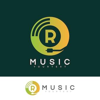 Musica iniziale lettera r logo design