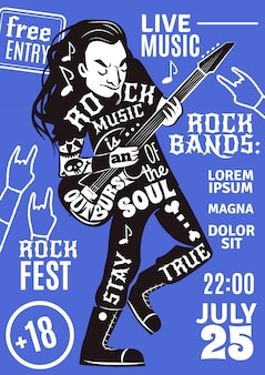 Musica lettering sagoma poster rock