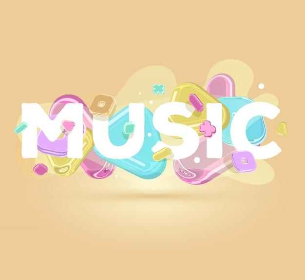 Musica moderna iscrizione positiva con elementi di cristallo luminosi su sfondo chiaro con ombra.