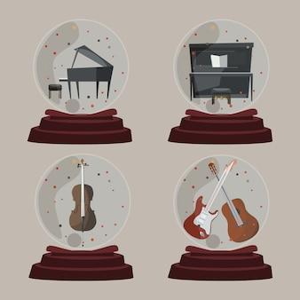 Musica nell'illustrazione di vettore della palla di vetro