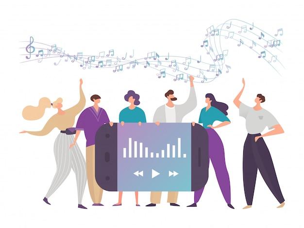 Musica online digitale di concetto su diversi siti internet per uso pubblico moderno su dispositivi, design, illustrazione stile piatto.