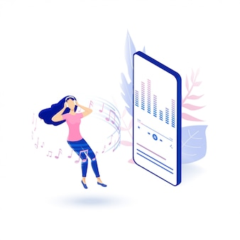 Musica online e radio online. musica d'ascolto del personaggio sul suo smartphone. riproduzione multimediale mediante contenuto cloud wireless. illustrazione isometrica