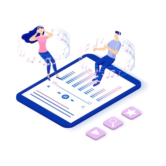 Musica online e radio online. personaggi che ascoltano musica sul proprio smartphone. riproduzione multimediale mediante contenuto cloud wireless. illustrazione isometrica