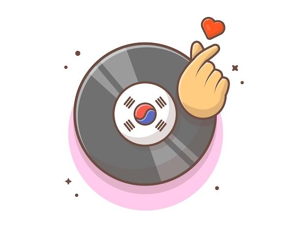 Musica su disco in vinile con cuore a dito e musica simbolo. record di musica del vinile k-pop bianco isolato