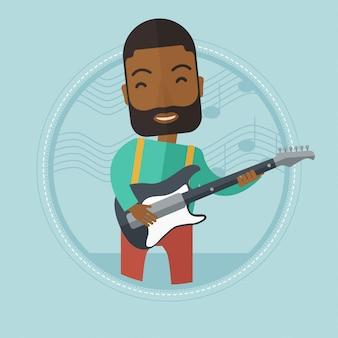Musicista a suonare la chitarra elettrica