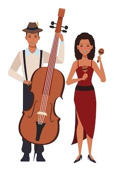Musicista che suona il basso e la maracas
