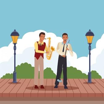 Musicista che suona il sassofono e canta