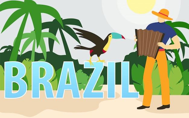 Musicista di fisarmonica con pappagallo e palme in brasile.