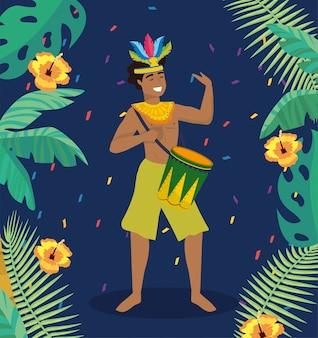 Musicista uomo con tamburo e costume tradizionale