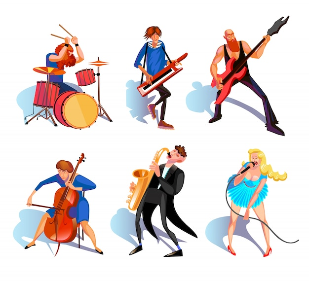 Musicisti cartoon set