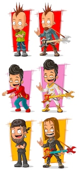 Musicisti rock del fumetto con set di caratteri di chitarra