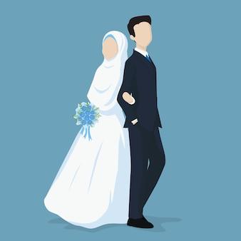 Muslim bride and groom