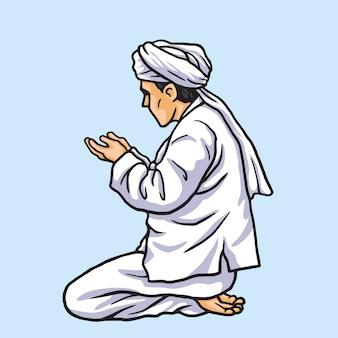 Musulmano che prega in ramadan kareem