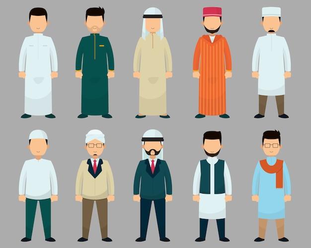 Musulmano con diversi stili di abbigliamento.