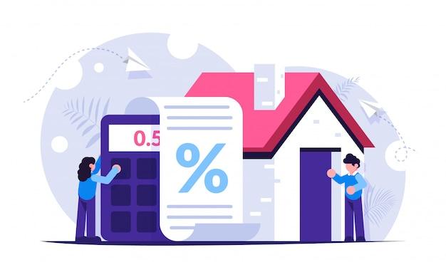 Mutuo ipotecario sullo sfondo del calcolatore e della casa