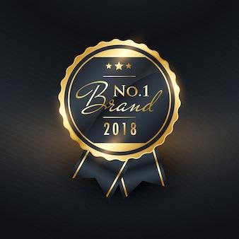N ° 1 marchio dell'anno design etichetta dorata