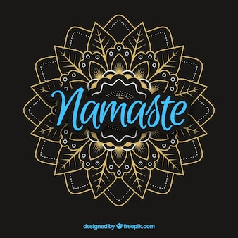 Namaste lettering con mandala elegante