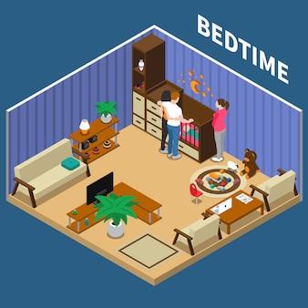 Nanny child bedtime isometric composizione