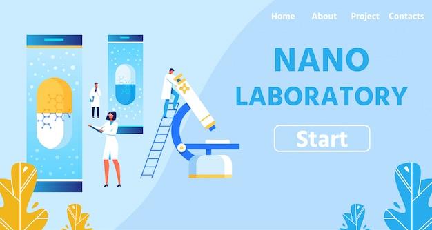 Nano laboratory con atterraggio attrezzature moderne