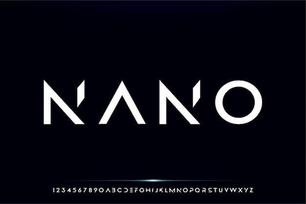 Nano, un carattere alfabeto futuristico astratto con tema tecnologico. moderno design tipografico minimalista
