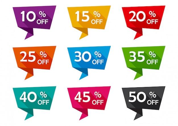 Nastri colorati tag pubblicità con diverse offerte di sconto.