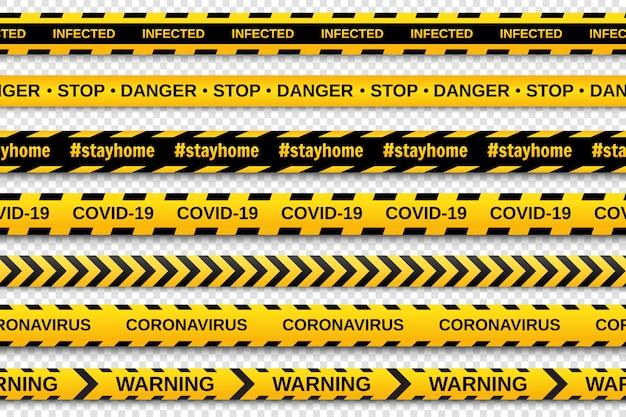 Nastri d'avvertimento gialli e neri d'avvertimento su sfondo trasparente. nastro per recinzioni di sicurezza. coronavirus pandemico globale covid-19. illustrazione