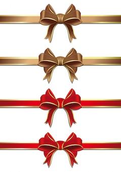 Nastri d'oro e rossi con raccolta di fiocchi. set di fiocchi e nastri.