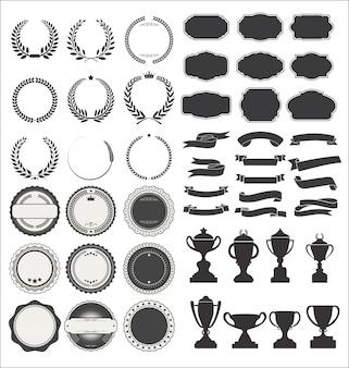 Nastri in stile premium vintage identificano allori e trofei