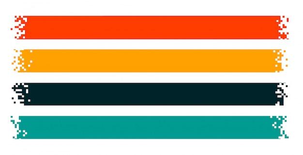 Nastri pixel o striscioni pixelati larghi set di quattro